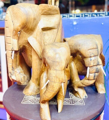 Ghanaian Solid Wood Elephant (small)