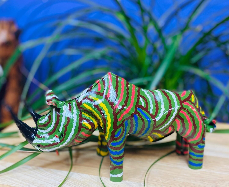 Painted Tin Rhino of Zimbabwe (large)