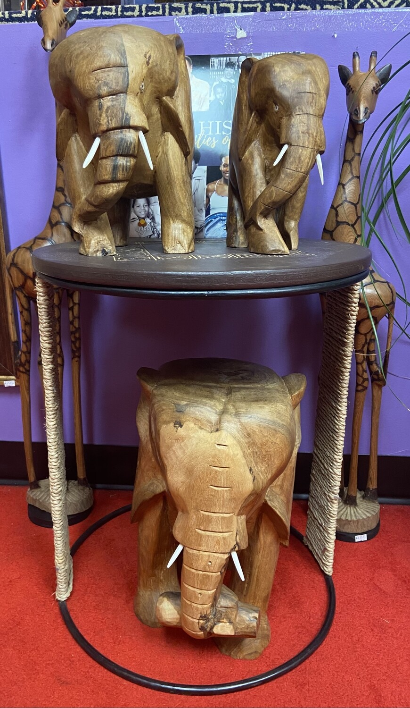 Ghanaian Solid Wood Elephant (large)