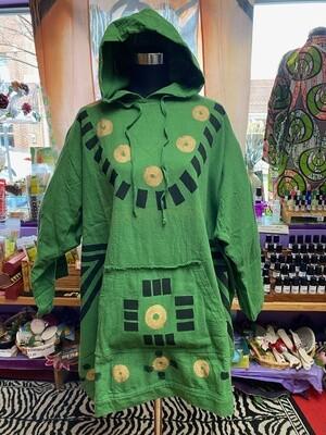 Heavy Cloth Dhashiki (green-black w/ hood)