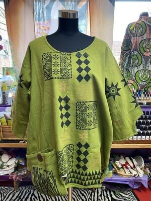 Heavy Cloth Dhashiki (green-black-gold)
