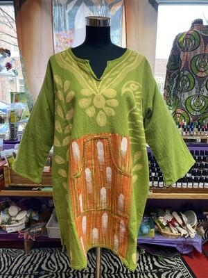 Heavy Cloth Dhashiki (green-gold-orange)