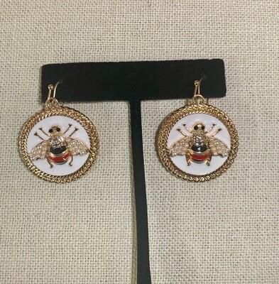 Round Bee Earrings