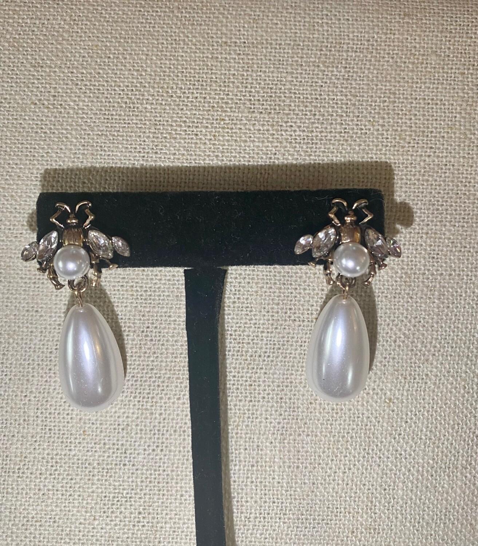 Pearl Drop Bee Earrings