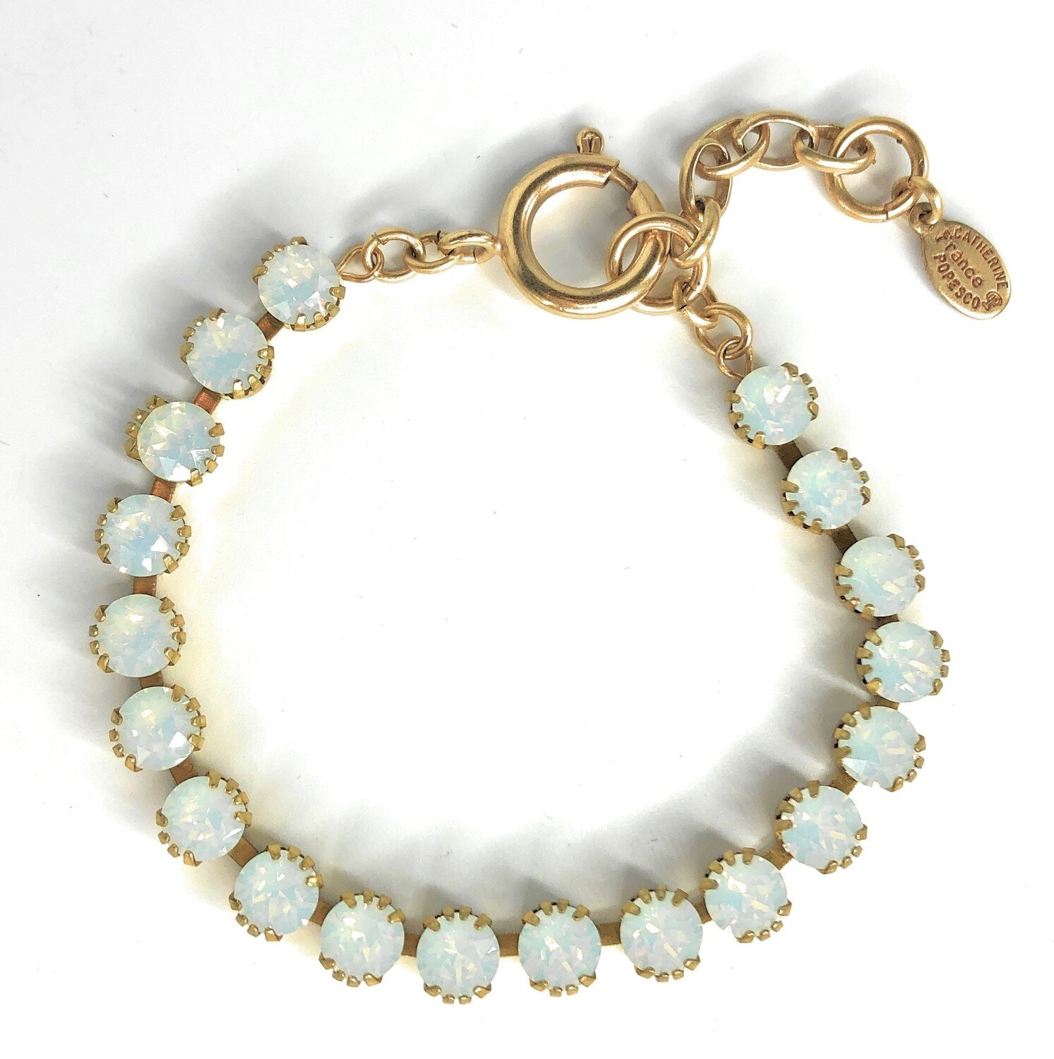 TENNIS BRACELET Gold With White Opal  Swarovski Crysal