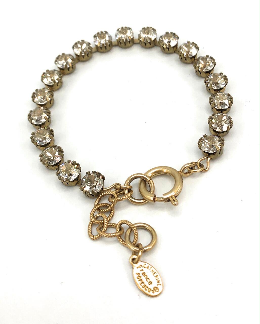 TENNIS BRACELET Gold With Light Gray Swarovski Crystal