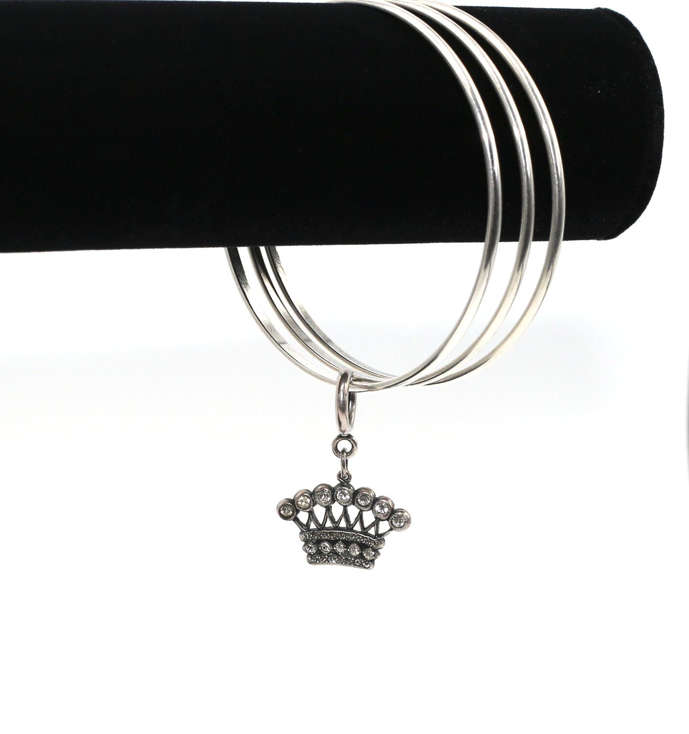 CLASSIC SILVER BANGLE with ANTIQUE CROWN CHARM
