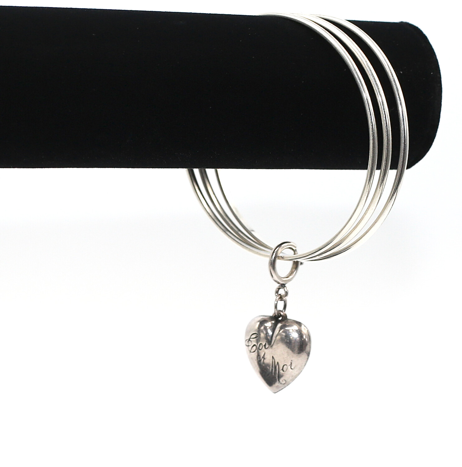 CLASSIC SILVER BANGLE with SILVER PUFFY HEART CHARM