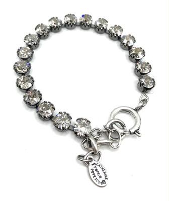 TENNIS BRACELET Silver With Light Gray Swarovski Crystal