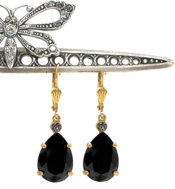 EMPRESS CUT Gold With Jet Swarovski Crystal