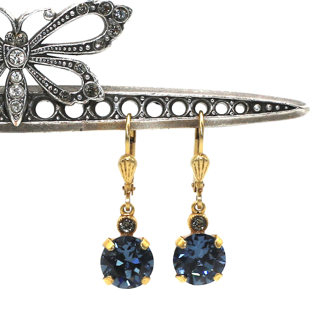 JELLY TOTS Gold With  Midnite-Blue Swarovski Crystal