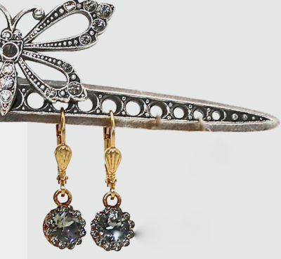 PRINCESS DIANA Gold With Dark Gray Swarovski Crystal