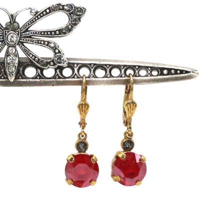 La Vie Parisienne JELLY TOTS Gold With  Cherry Red  Swarovski Crystal