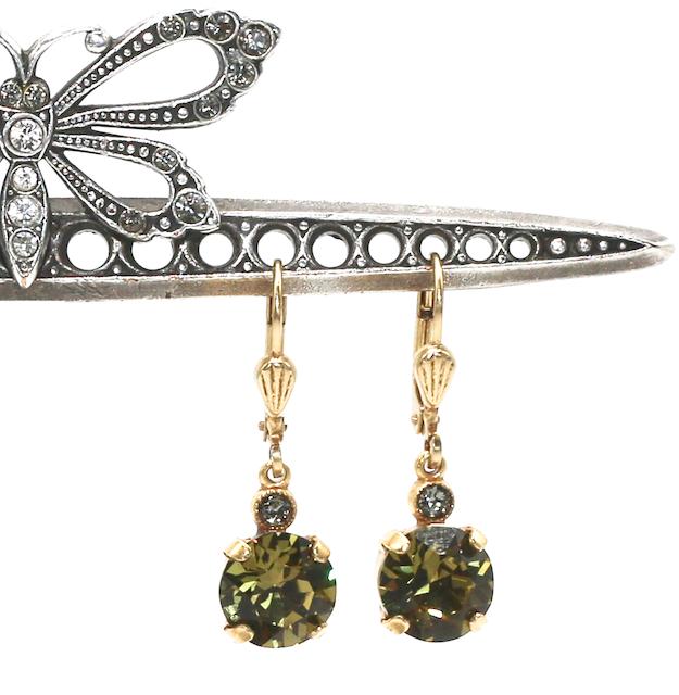 JELLY TOTS Gold With Olivine  Swarovski Crystal