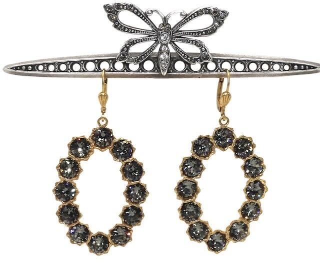 LADY GAGA Gold Loops With Dark Gray Swarovski Crystal