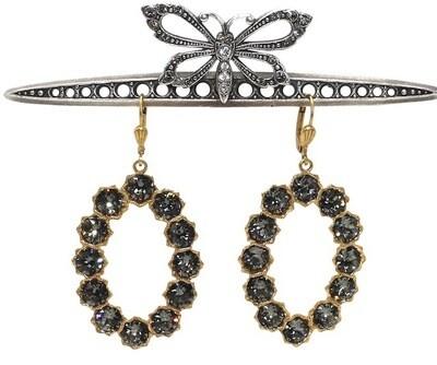 La Vie Parisienne LADY GAGA Gold Loops With Dark Gray Swarovski Crystal