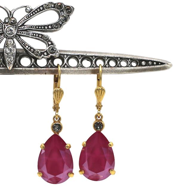 EMPRESS CUT Gold With Fuschia Swarovski Crystal