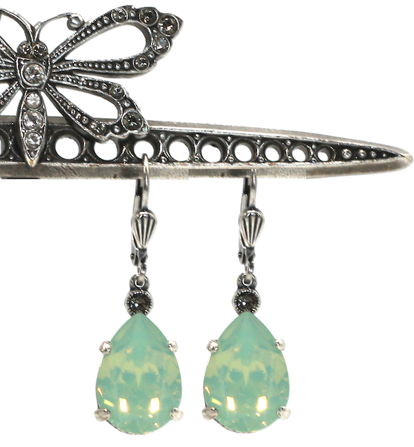 EMPRESS CUT Silver With Pacific Opal Swarovski Crystal