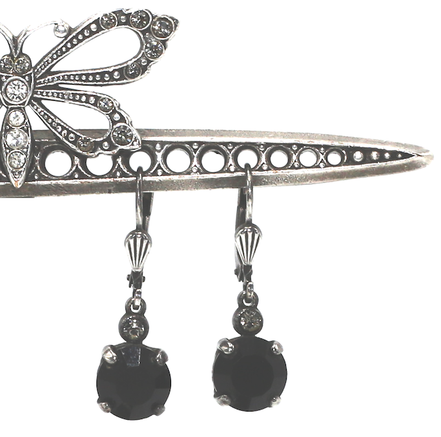 JELLY TOTS Silver With Jet Swarovski Crystal