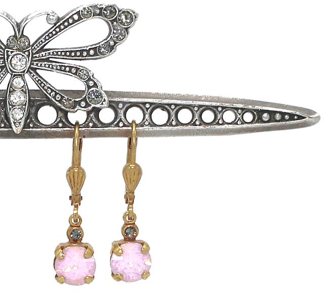 LITTLE JELLY TOTS Gold With  vintage pink Swarovski Crystal