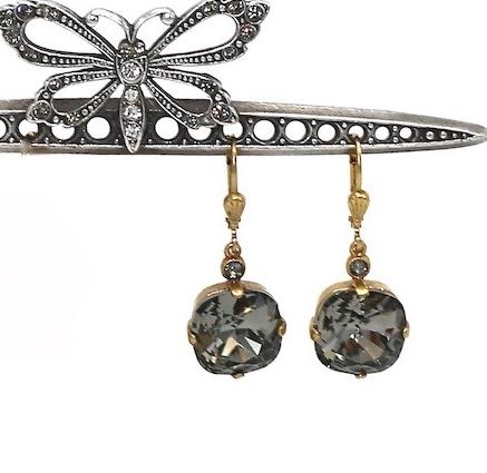 THE DUTCHESS Gold with Dark Gray Swarovski Crystal