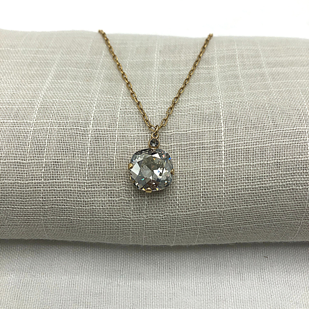 DUTCHESS CRYSTAL NECKLACE Gold with Shade Swarovski crystal