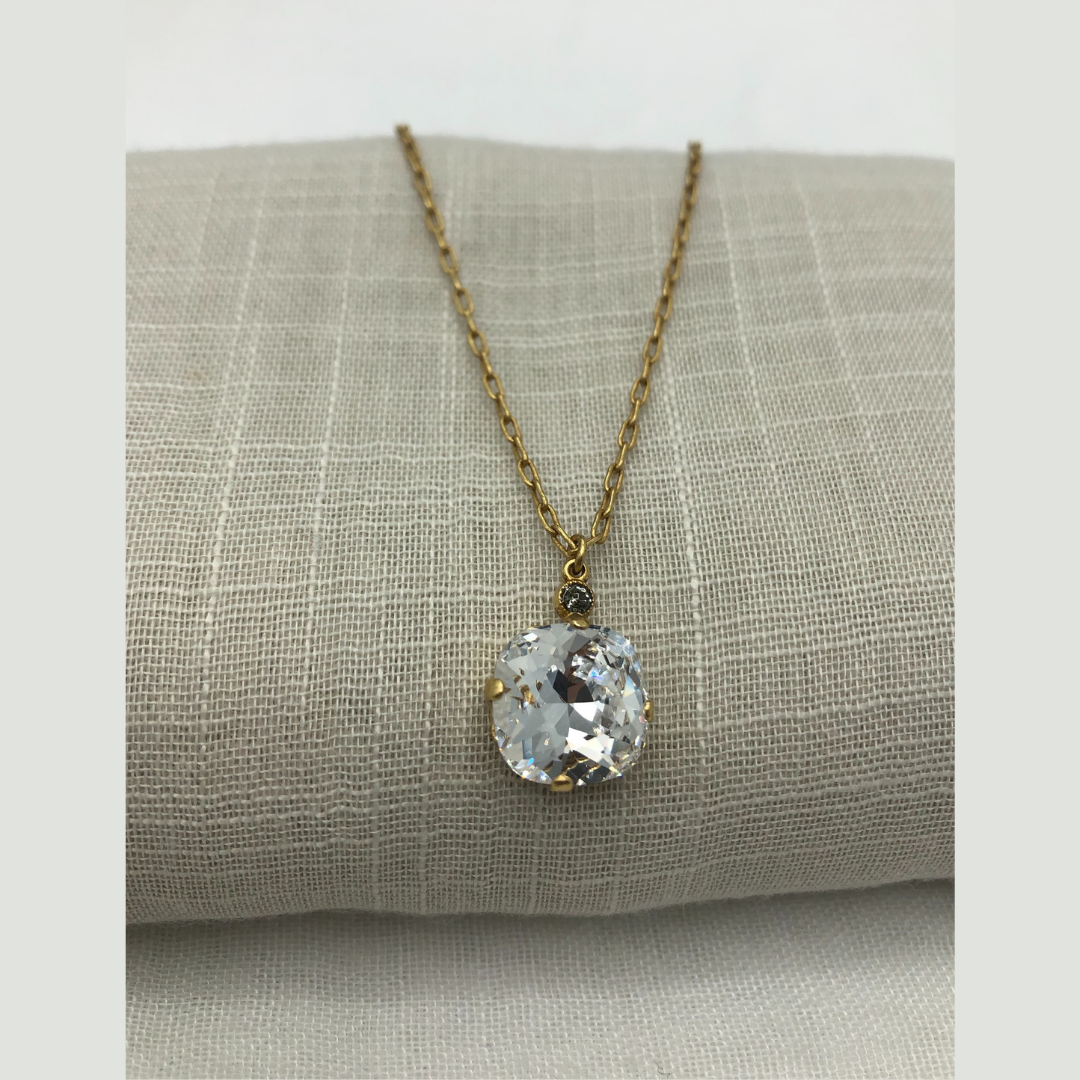 DUTCHESS CRYSTAL FOB NECKLACE Gold with Clear Swarovski Crystal