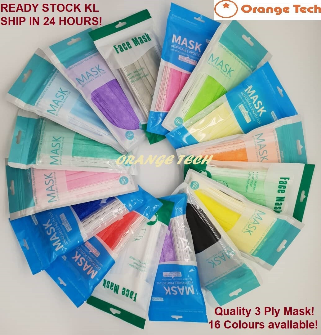 50PCS Colourful 3 Ply Face Mask, BFE <95% Disposable Face Mask with box. Comfort and soft, with Cert, Ready stock KL ship within 24 hour.