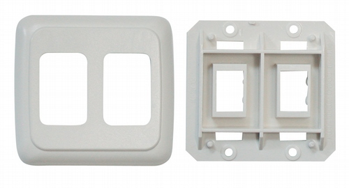 Double Base and Plate Contour Wall Plate Assembly - White