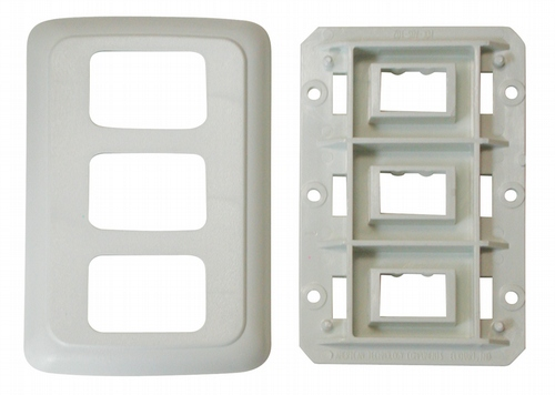 Triple Base and Plate Contour Wall Plate Assembly - Biscuit