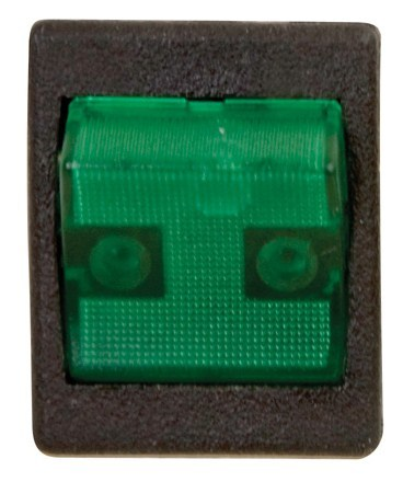 Illuminated Heavy Duty Rocker Switch SPDT - Black/Green 1/card