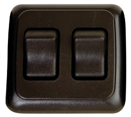 Double Contour On/Off Switch with Base and Plate - Black