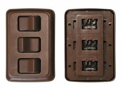 Triple Contour On/Off Switch with Base and Plate - Brown