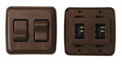 Double Contour On/Off Switch with Base and Plate - Brown