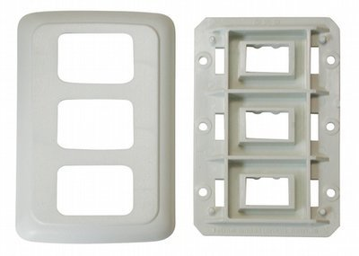 Triple Base and Plate Contour Wall Plate and Assembly - White