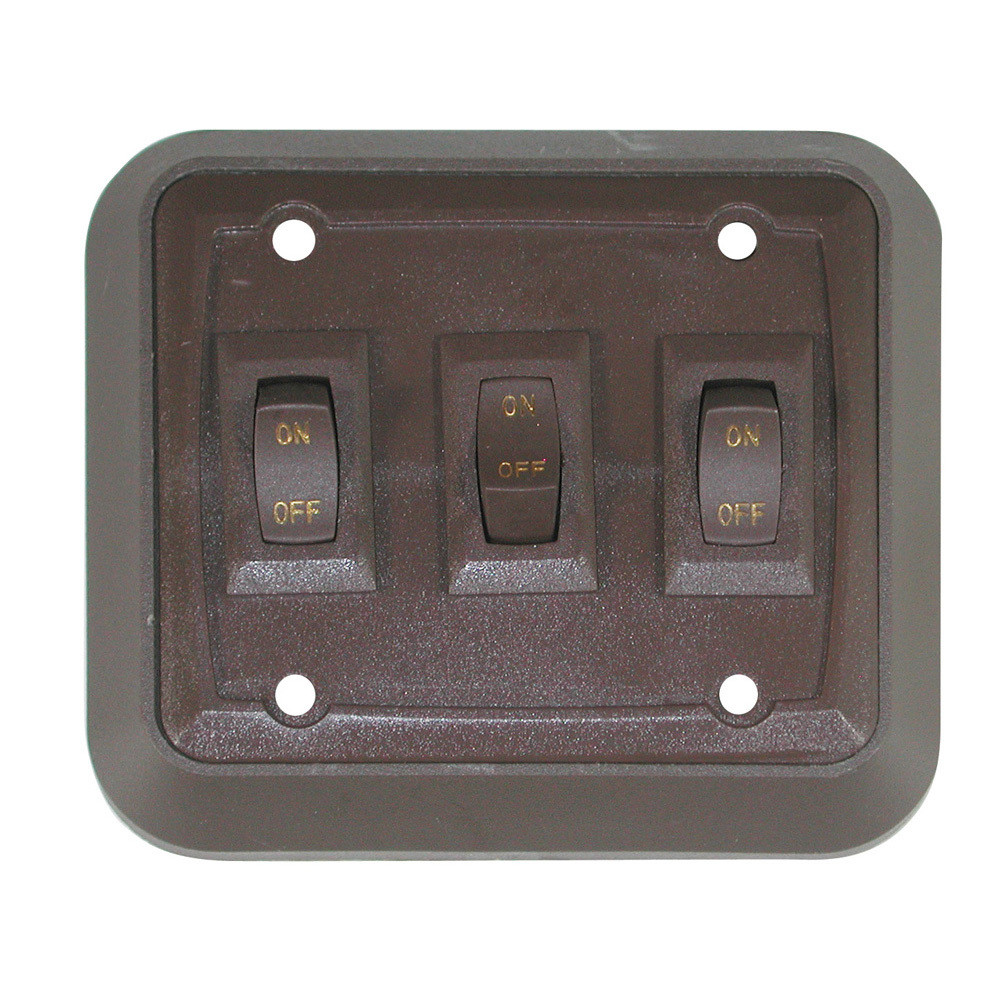 Wall Plate with Switch - Brown/Brown Triple