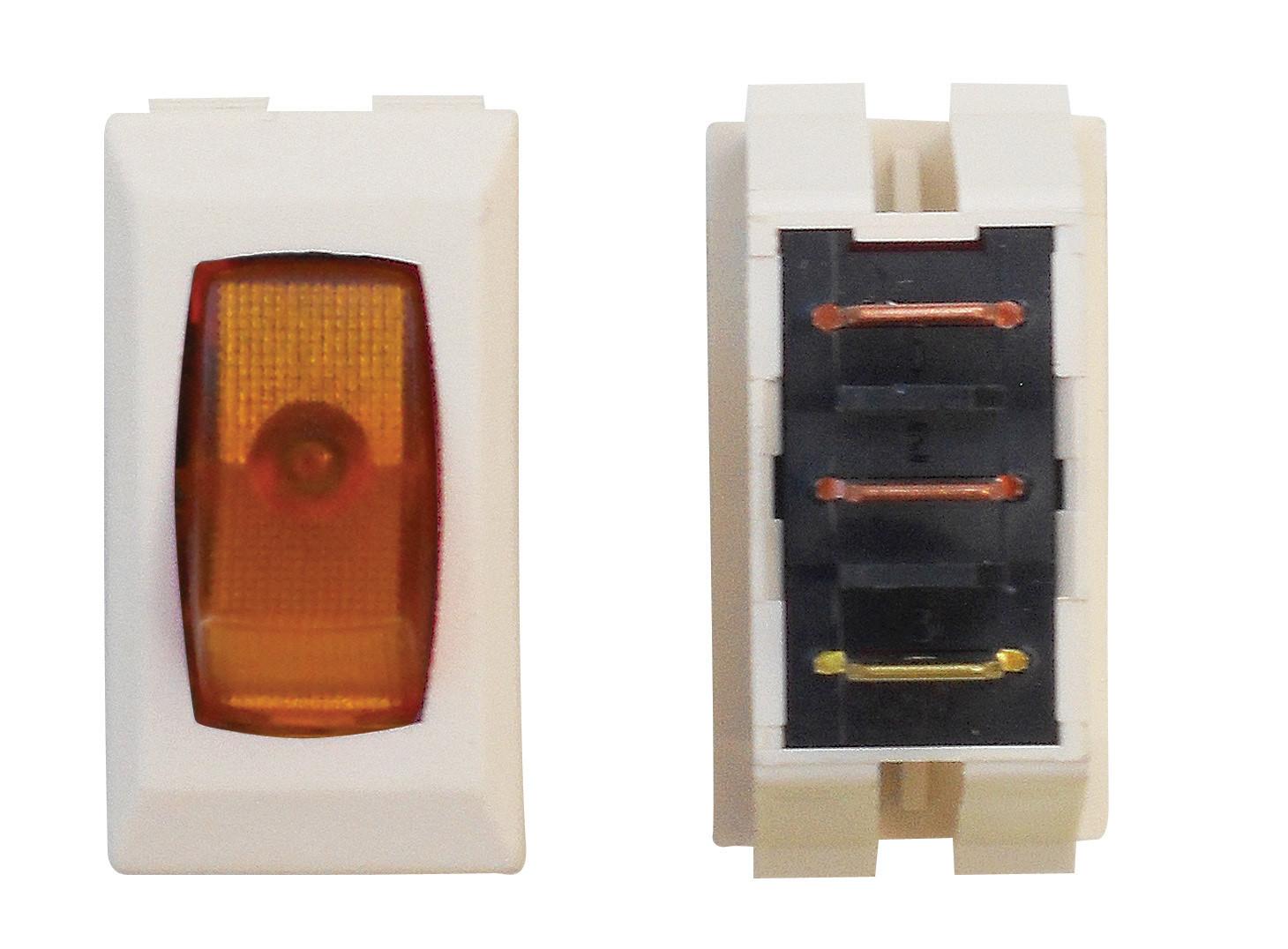 Illuminated On/Off Switch - Amber/Ivory 1/card