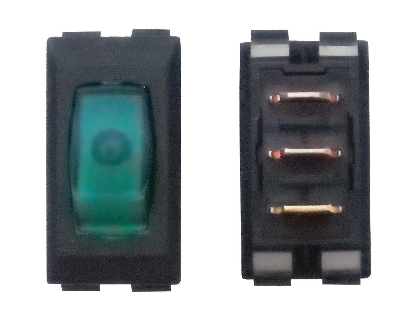 Illuminated On/Off Switch - Green/Black 3/bag