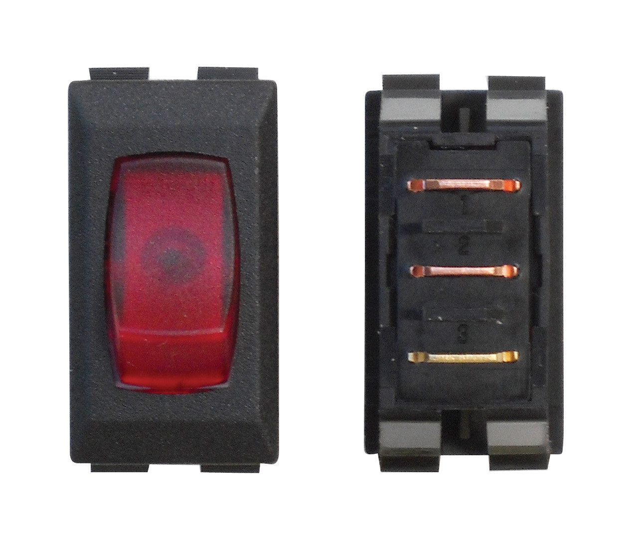 Illuminated On/Off 110V Switch - Red/Black 1/card