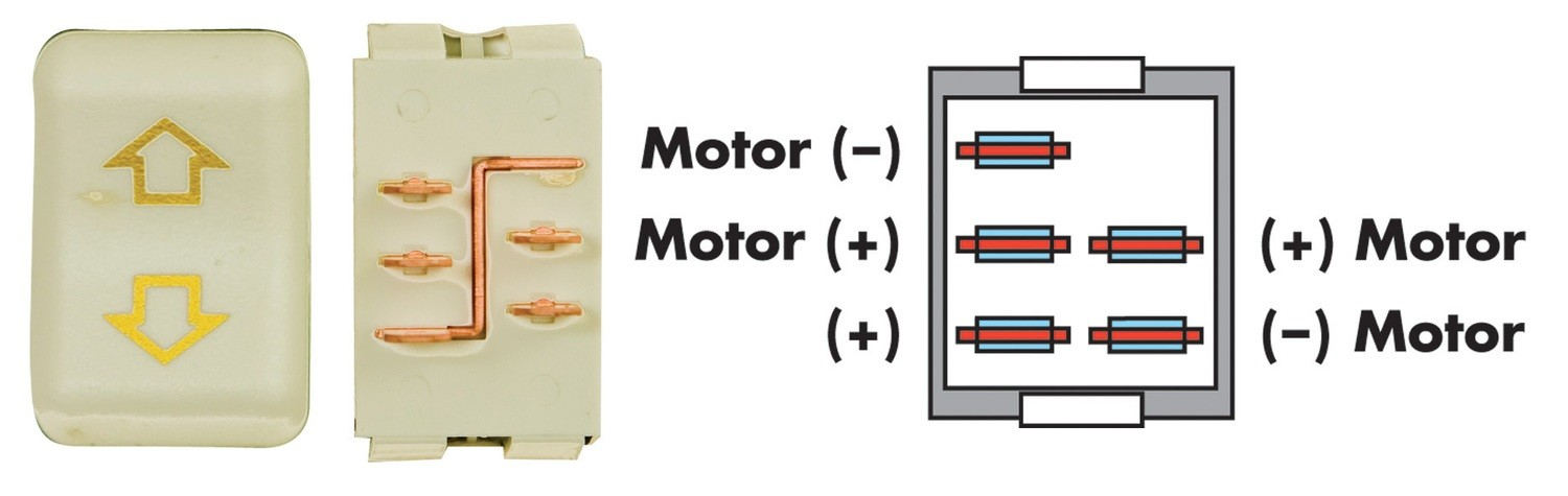 Contoured 5 Pin Side-By-Side Terminal Switch - Ivory
