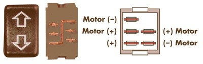 Contoured 5 Pin Side-By-Side Terminal Switch - Brown
