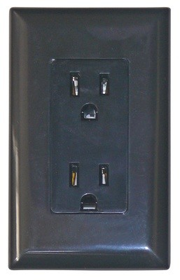 15 Amp Decor Receptacle with Cover - Black