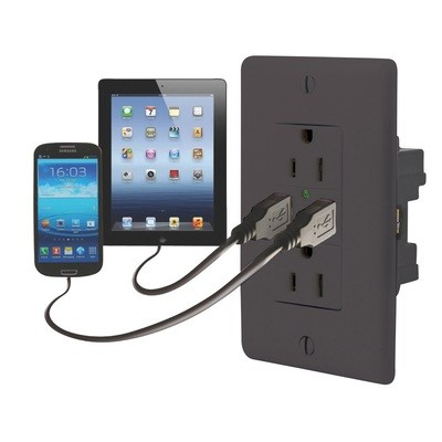 Dual USB Charger with Duplex Receptacle - Black