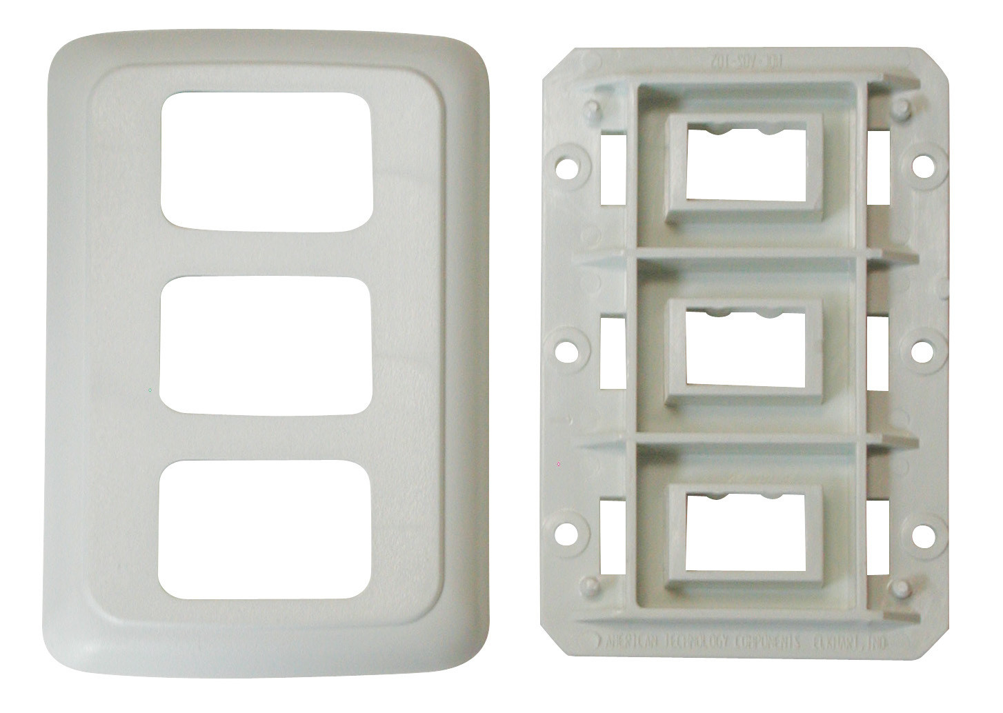 Triple Base and Plate Contour Wall Plate Assembly - Ivory