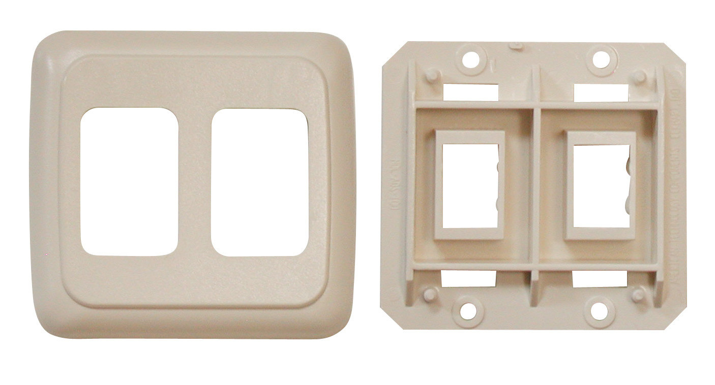 Double Base and Plate Contour Wall Plate Assembly - Ivory