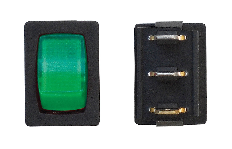 Mini Illuminated On/Off SPST - Black/Green 1/card