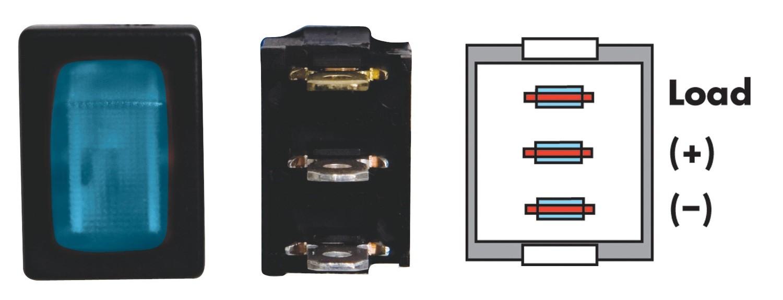 Mini Illuminated On/Off SPST - Black/Blue 1/card