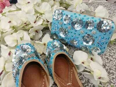 Hand Crafted Floral Blue Mojaris