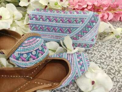 Hand Crafted Floral Sky Blue Mojaris