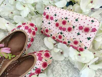 Hand Crafted Floral Pink Rose Mojaris